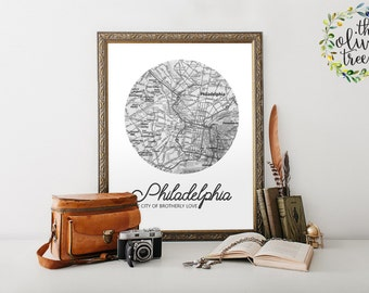 Famous City Nicknames Map print, printable map, INSTANT DOWNLOAD - Philadelphia - The City of Brotherly Love