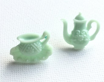 Teapot Earrings, Tea Cup Earrings, Teapot and Teacup Stud Earrings, Tea Set Earrings, Green Teapot, Green Cup and Saucer, Mini Food