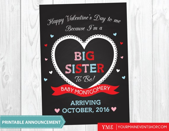 Valentine Big Sister Pregnancy Announcement Sign - Valentine's Photo Prop - Big Brother Big Sister  - Sweetheart Announcement