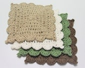 Cotton Crochet Washcloth, Camo Crochet Washcloth Set of 4 , Brown/ Green/Tan/Beige Dishcloth, Cotton Dishcloths, Gift Set, Ready to Ship