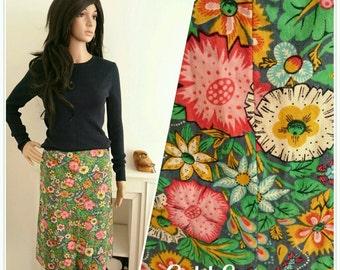 Vintage 70's Botanical Blue Green Floral Daisy Boho Cotton Skirt / UK 6 8 / EU 34 36 / US 2 4