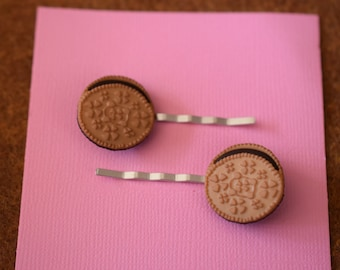 Golden Oreo with Chocolate Filling Hair Bobby Pins