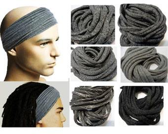 Mens Headband Dreadband Mens Hair Accessory Dreadlock Wrap Dreadlocks Headband for Men Dreadlock Wide Hair Wrap Tube Gray Headband for Men