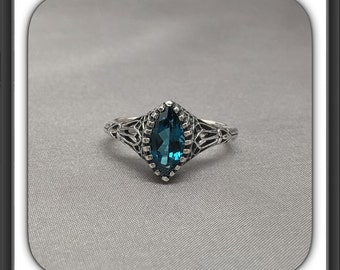 Elegant Natural London Blue Topaz Filigree Art Deco Style Ring in Sterling Sliver
