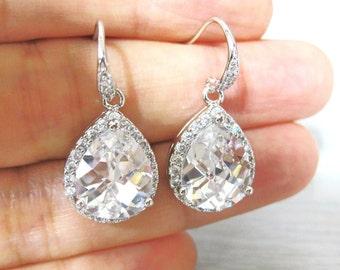 Bridal Crystal Teardrop Earrings Wedding Jewelry Large Lux Cubic Zirconia Teardrop Earrings Bridesmaids Gift Sparky Earrings (E048)