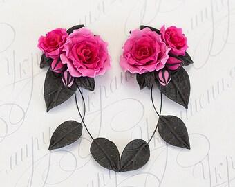 Fuchsia pink rose earrings. Bright Pink flower dangle earrings. Polymer clay jewelry. Fuchsia earrings. Rose jewelry. Pink black jewelry.
