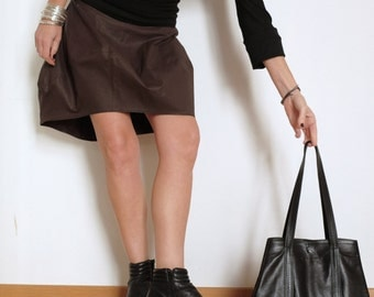 Brown Skirt - Short Brown Skirt - Large Skirt - Tulip Brown Skirt - Modern Skirt - Above the Knees Skirts - Brown Cotton - Every Day Skirt