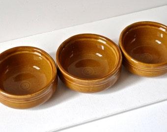 Glazed stoneware serving pots. Vintage french pottery.