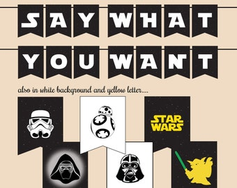 Star Wars Banner Printable ALL LETTERS (3 Design) - instant download