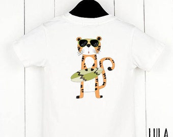Modern and cool kids t-shirt with tiger print.