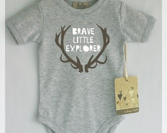 Brave little explorer baby clothes. Tribal baby bodysuit. Modern baby clothes.