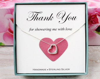 Bridal shower hostess gift for baby shower hostess Thank you gift for friend Sterling Silver Open Heart necklace gift box