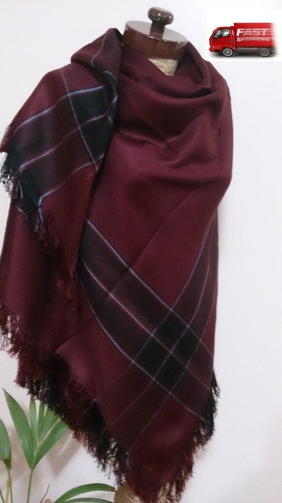 Burgundy Blanket Scarf Plaid Blanket Scarf Winter