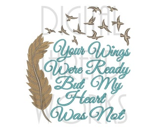 Sympathy Loss of Loved One Machine Embroidery Design in 4x4, 5x7, and 6x10 hoop sizes. Instant Download Comforting Angel Wings Item# 0124