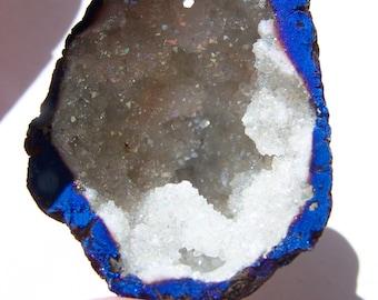 TitaniumThunderEgg, Druzy Geode pendant bead 40x32x19mm
