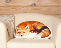 Fox Pillow – Sleeping Fox Shaped Pillow, Woodland Animal Pillow, Fox Cushion