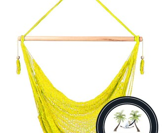 Yellow Hammock Chair - 100% Hand Woven - Perfect for one child, teen or adult!