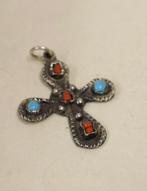 Cross Sterling Silver Southwest Turquoise Coral Stones Pendant Handmade Jewelry Silver Cross Necklace Religious Spiritual Silver Cross