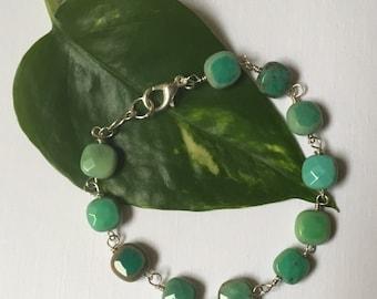 CLEARANCE!! Green Peruvian Opal Sterling Wire Wrapped Bracelet