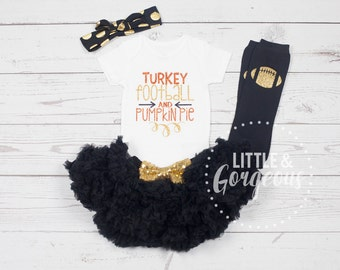Thanksgiving Onesie, Turkey Football Pumpkin Pie Onesie, Thanksgiving Outfit, Baby Girl Outfit, Baby Girl Shirt, Halloween, Toddler