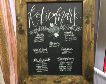 Framed Wedding Chalkboard