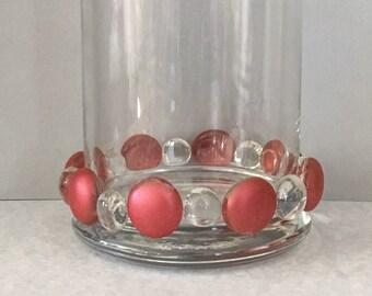 Beaded votive, beaded candleholder, salmon votive, salmon candleholder, table decor, candle centerpiece, decorative votive, glass votive