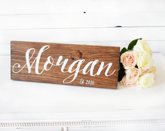 Last Name Sign- Established Sign- Wedding Date Sign- Bridal Shower Gift- Wedding Gift- Custom Wedding Signs- Rustic Wedding- Boho Wedding