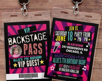birthday invitation, rock star, VIP PASS, backstage pass, concert ticket, birthday invitation, wedding, baby shower, party favor