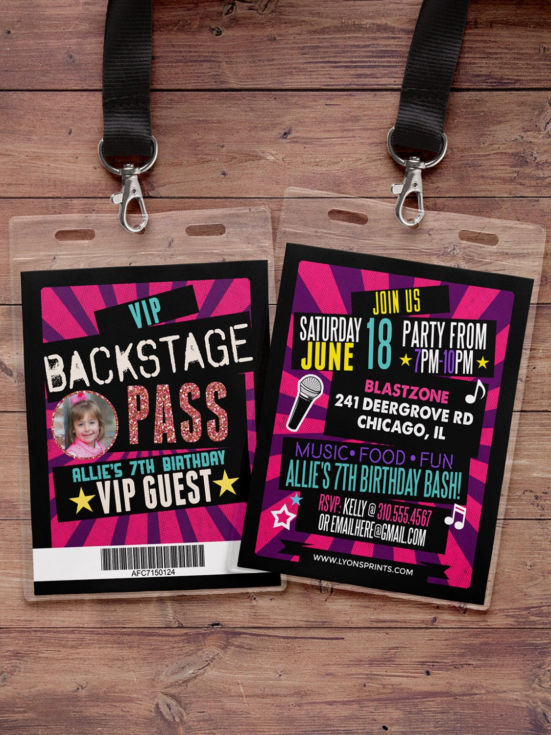 birthday invitation rock star VIP PASS backstage pass concert – Concert Ticket Birthday Invitations