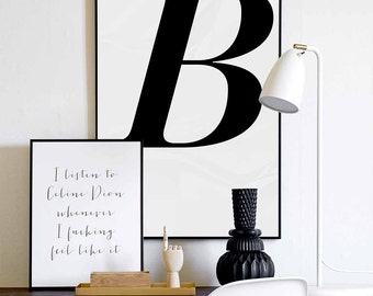 B Letter - Scandinavian Design Poster, Nordic Design Print , Nordic Minimalist Art, Instant download, Typography Wall Art Prints