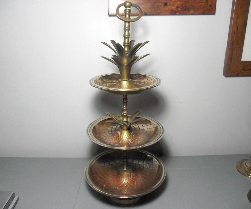 Brass Pineapple Stand Pineapple Cake Stand Pineapple 3 Tier