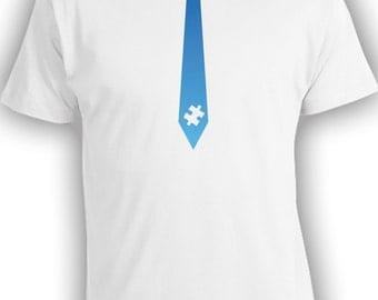 Blue Tie Puzzle Piece - Autism Awareness Shirt. Mens Youths T-Shirt. CT-020