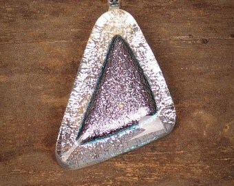 Smokey Gray Triangle Fused Glass Pendant