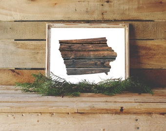 Iowa Printable, State Wall Art, Iowa Print, Wood Wall Art, Map Art, Printable Poster, Instant Download, Iowa Wall Art, Map Print, Brown Art