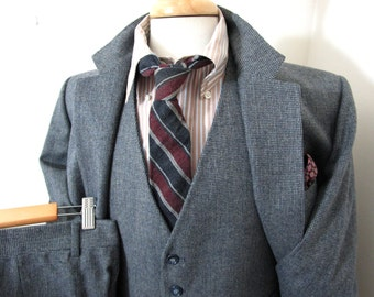 Vtg 3pc TWEED Gray suit 42 R ~ MINTY ~ WEDDING