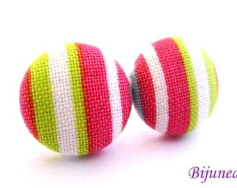 Pink Stripes earrings - Pink stripe stud earrings - Green stripes posts - Stripes studs - Pink stripes post earrings sf1150