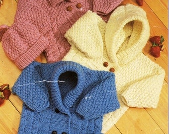 Baby KNITTING PATTERN PDF baby aran cardigans baby aran jackets 16-24 inch aran / worsted / 10 ply hooded cardigan collar instant download