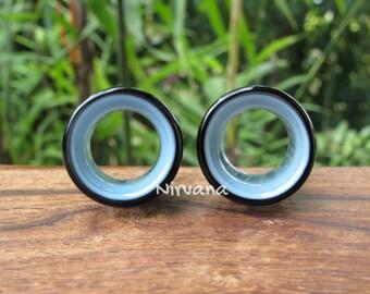 "Black & Sky Blue 2 Tone Tunnels Glass 6g 4g 2g 0G 00g 7/16"" 1/2"" 9/16"" 5/8"" 4 mm 5 mm 6 mm 8 mm 9.5 mm 10 mm 12 mm up to 1"" Inch (25.4 mm)"