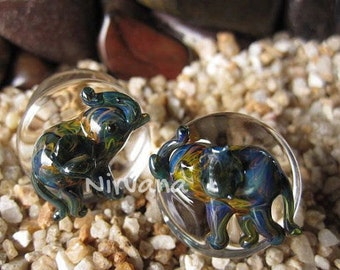 "Exotic Earth Tones Color Elephant Plugs Pyrex Glass  00g 7/16"" 1/2"" 9/16"" 5/8"" 3/4"" - 1"" 9.5 mm 10 mm 11 mm 12 mm 14 mm 16 mm 18 mm - 25 mm"