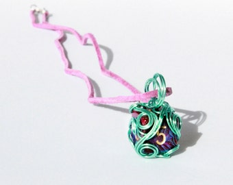 Wire-Wrapped Purple-and-Green D6 Dice Necklace