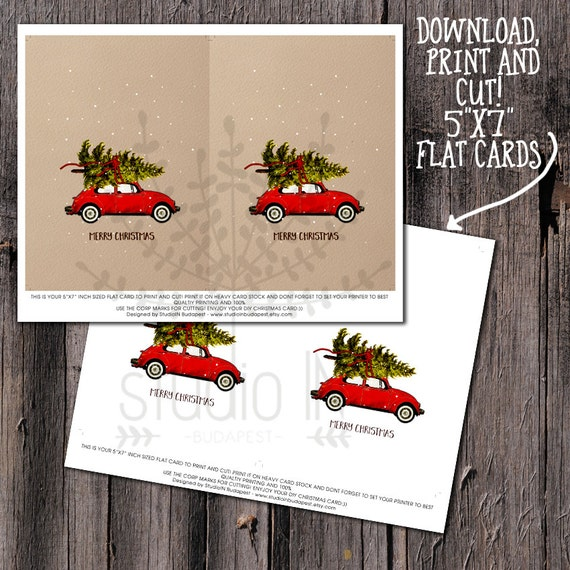 CHRISTMAS CARD PRINTABLE Red Car Christmas Card Christmas