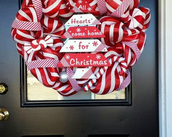 Large, Red and White Striped Christmas Wreath/Peppermint Deco Mesh Wreath, Item #47