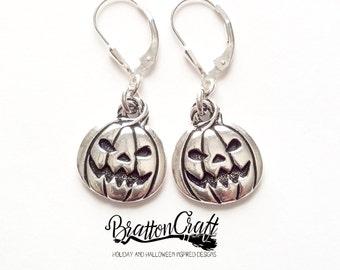 Silver Pumpkin Earrings - Fun Halloween Earrings - Halloween Jewelry - Pumpkin Jewelry - Pumpkin Earrings
