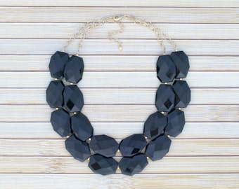 Black Bead Necklace, Bib Necklace, Chunky Collar Necklace, Fashion Jewelry, Large Beaded Jewelry, Black Statement Necklace, Simple Necklace