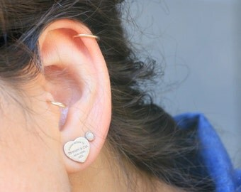 Fire Opal Earring Studs - Sterling Silver - Recycled Eco Friendly Metal