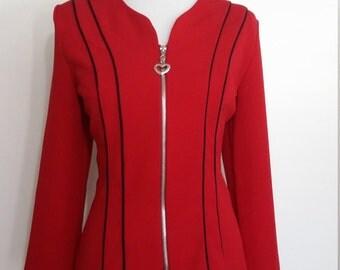 80s jacket, M, L, red black jacket, zip front jacket, red jacket, red blazer, mod jacket, mod blazer, striped jacket, heart top