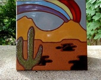 Edilgres Southwestern Rainbow Cactus Tile // Tile Made In Italy // Edilgres S.p.A. // Dessert Motif // Trivet