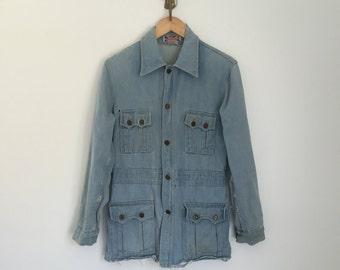 Vintage 70's distressed jean denim coat