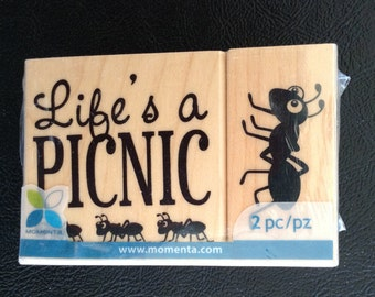 Set of 2 Rubber Stamps on Wood Blocks – Life's a Picnic, Ants, Rubber Stamps, Card Making, Scrapbooking, Momenta