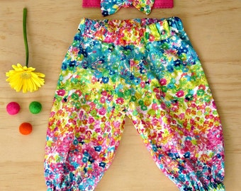 Clearance harem pants. Girls floral harem pants. Girls sale pants. Toddler girls clearance stock. Reduced to clear pants. Rainbow pants